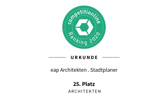 Competitionline Ranking 2020 der Architekten – Wir freuen uns über Platz 25